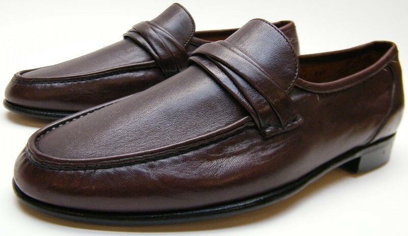 Uomo ALLEN EDMONDS BERGAMO BURGUNDY LEATHER SLIP ON LOAFER DRESS SHOES 8.5~1/2 D