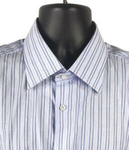Cristiano-Girani-Dress-Shirt-Blue-Striped-Mens-Size-18-45-MADE-IN-ITALY