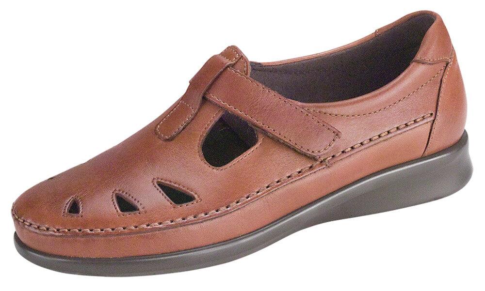 New SAS Roamer Chestnut Brown Leather Tripad Comfort T-Strap 11.5 S (Slim-AAA)