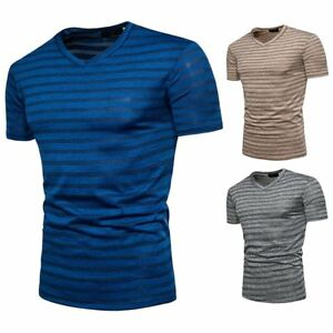 Men-039-s-Slim-Fit-V-Neck-Short-Sleeve-Muscle-Tee-Shirts-Summer-Casual-T-shirt-Tops