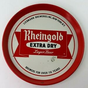 Rheingold-Extra-Dry-Lager-Beer-Tray-Metal-Serving-Advertising-Liebmann-Breweries