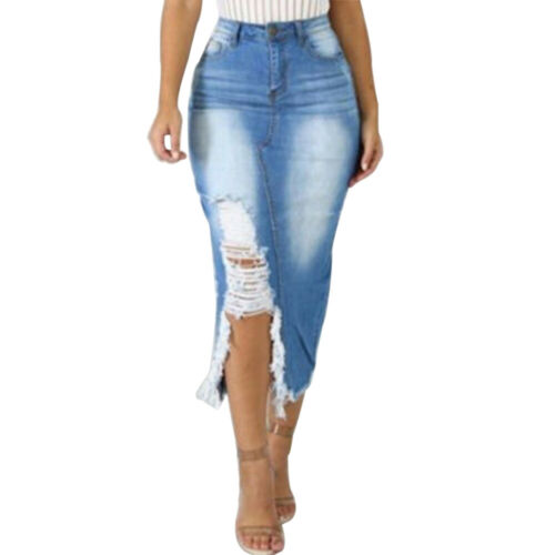 Damen Rock Hohe Taille Jeans Maxirock Ripped Denim Lang Röcke Slim Spliss Sommer