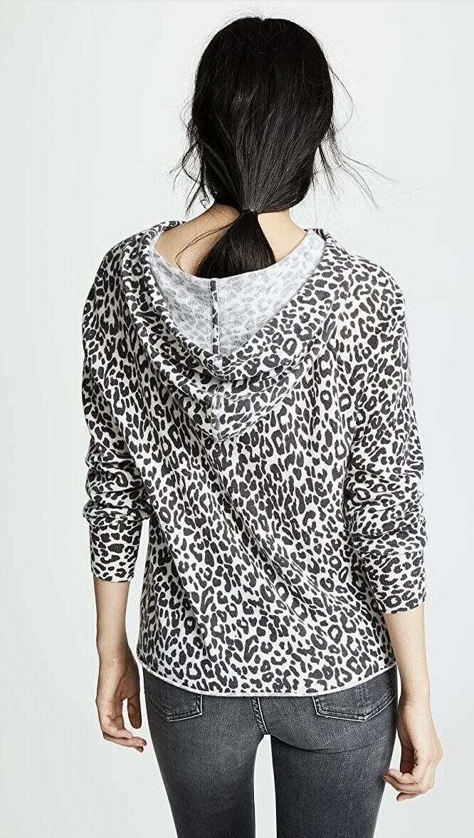 360 Cashmere Cheetah Print Hooded Sweater-Size XS - image 3