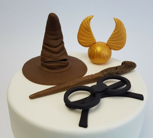 Harry Potter Cake Topper 3D Gold Snitch Wand Magic Sorting Hat Wizard Edible