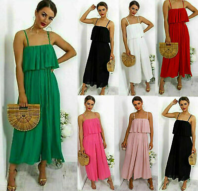 Ladies Women Chiffon Frill Strappy Crinkle Pleated Jumpsuit Culotte Dress New