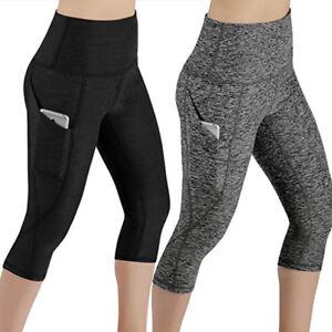 womens capri yoga pants pocket cropped workout run sports