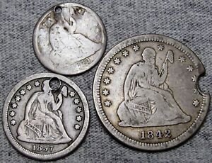 1842-O Seated Liberty Quarter 1857 Dime 1840 Half Dime Silver Nice - #M652