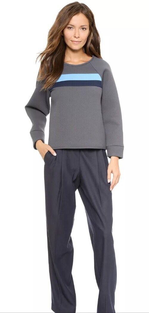NWT  CYNTHIA ROWLEY grau Bonded Pique Sweatshirt Größe L