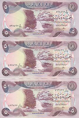 IRAQ 5 DINARS 1980 1981 1982 P-70 LOT X3 EF//XF NOTES DIFFERENT DATES *//*