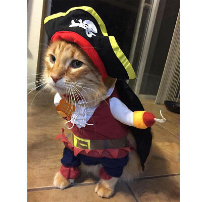 Pet Dogs Cat Costume Fancy Clothes Costumes Pirate Police Cowboy Halloween Dress