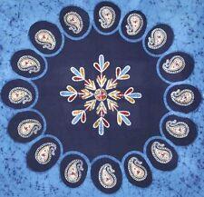 Handmade Multi Batik PaisleyTapestry Tablecloth Bedspread 100% Cotton Blue Full