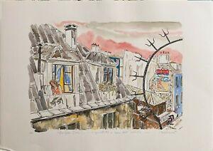 Carlo Mazzoni serigrafia acquerellata Bonjour Paris 70x50 firmata numerata Bora