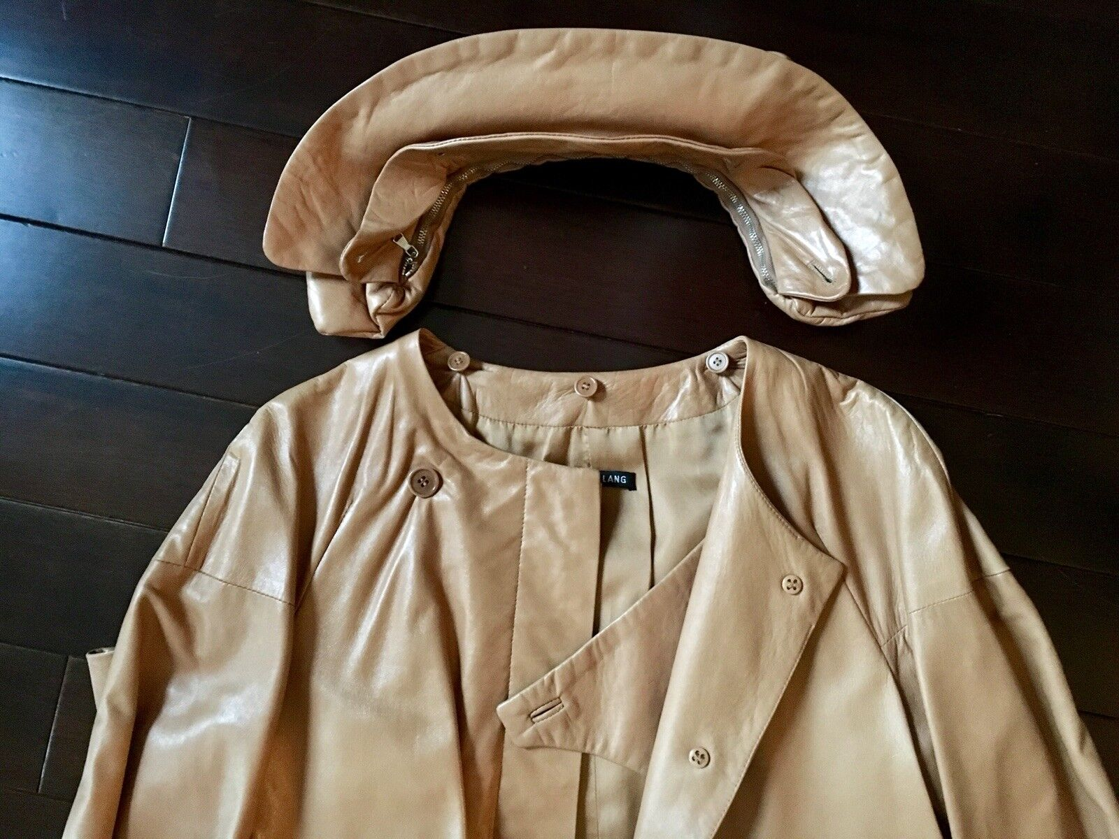 Helmut Lang Rare Vintage lamb lamb lamb skin Tan Leather pillow collar Coat 40 masterpiece 9bba17