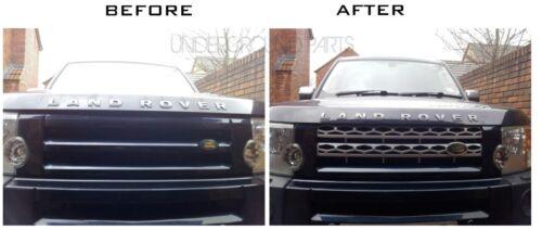 Discovery 3 Negro Plata rejilla frontal de malla estilo disco 4 Upgrade Kit de conversión