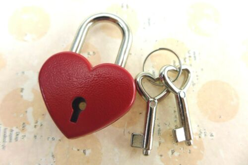 New Vintage Style Heart Shaped Mini Padlock with Keys-Red Color Lot of 10