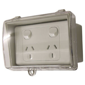 GPO-Double-Power-Point-Weatherproof-Clear-Lid-Box-Lock-Waterproof-FREE-POST