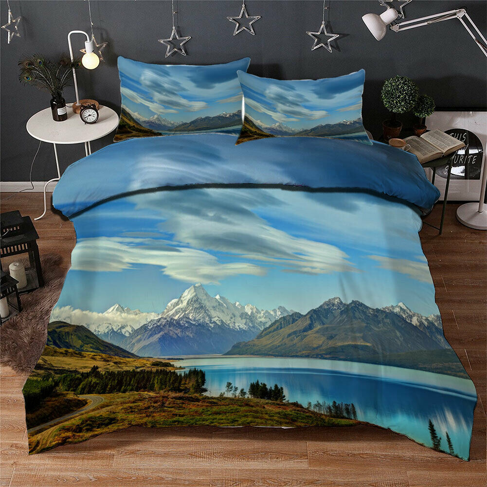 Great Lake Silent 3D Quilt Duvet Doona Cover Set Single Double Queen King Print