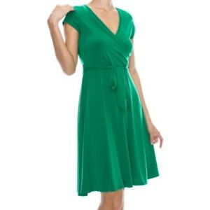 Womens-Janette-Fashion-Faux-Wrap-Knee-Length-Cap-Sleeve-Kelly-Green-Dress-SMALL