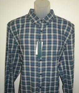 Perry-Ellis-Mens-L-S-Shirt-Alloy-Heather-Blue-amp-Gray-Check-XXL-Slim-Fit-NWT