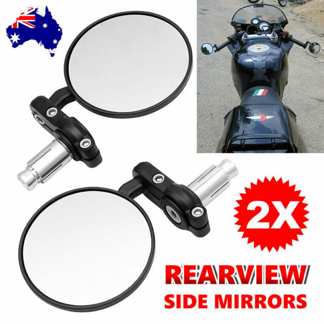 Motorcycle Motorbike Bar End Mirrors Rear Side View Universal 7/8'' Handle Black