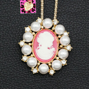 Betsey-Johnson-Women-039-s-Crystal-Pearl-Pink-Lady-Cameo-Pendant-Necklace-Brooch-Pin