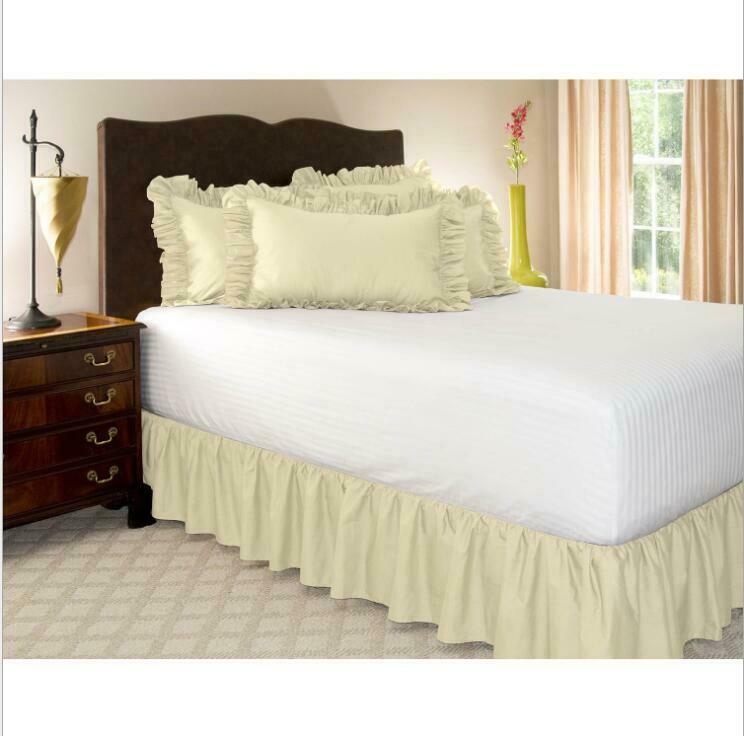 Elastic Bed Skirt Dust Ruffle Easy Fit, Wrap Around Bed Skirt Queen Size