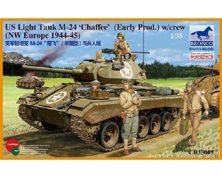 BRONCO MODELS CARRO LEGGERO AMERICANO M-24 CHAFFEE WWII  Scala 1 35 Cod.CB35069