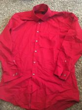 Men's J.Ferrar Red Button Up Collared Top Size M