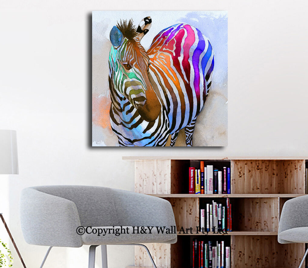 abstract colour zebra stretched canvas print framed kids wall art decor painting. Black Bedroom Furniture Sets. Home Design Ideas