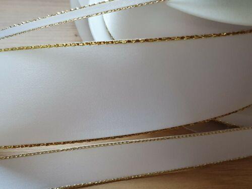 1 Metre WHITE SATIN GOLD LUREX EDGE RIBBON TRIMMING WEDDINGS-CRAFT 3MM//15MM//38MM