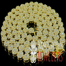 ICED OUT REAL LAB DIAMOND 14K YELLOW GOLD FINISH CLUSTER FLOWER NECKLACE CHAIN