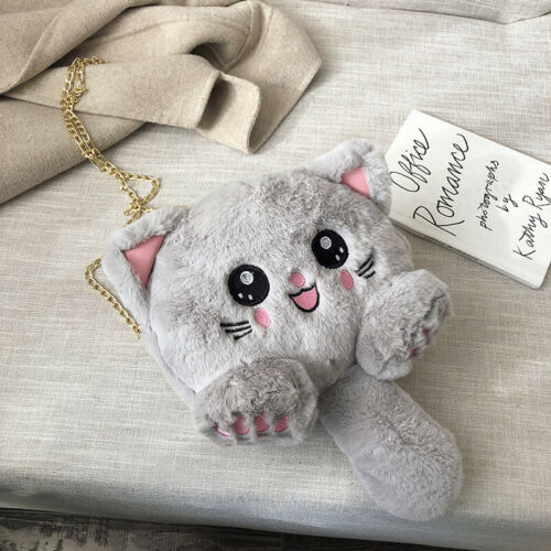 Cat Plush Chain Handbag Crossbody Shoulder Bag PurseFashion Cute Lolita