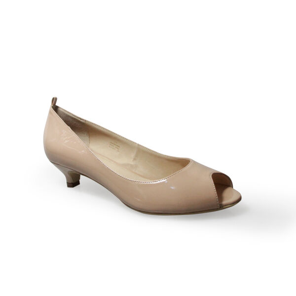 Size 12 Nude Patent Leather Peep Toe Court Low kitten heel 4cm Large Big Shoes