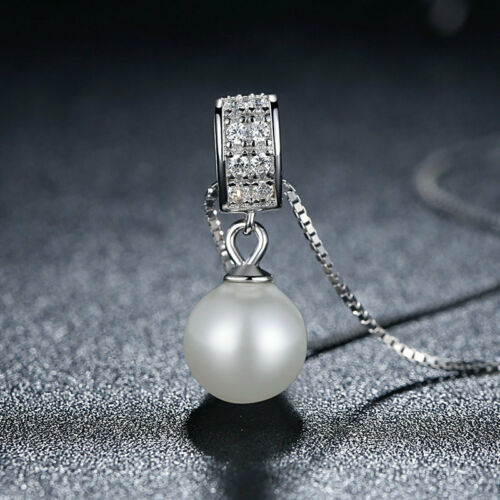 """European White Freshwater Pearl 925 Sterling Silver Pendant 18/"""" Chain Necklace"""