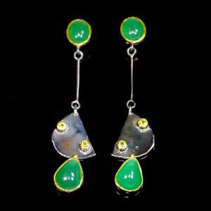 Art-Earrings-Design-Natural-Chrysoprase-925-Sterling-Silver-Earrings-E32308
