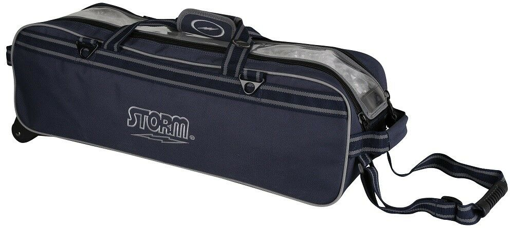 Storm 3 Ball Tournament Tote Bowling Bag w wheels color Navy