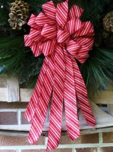 """10 /"""" HANDMADE CHRISTMAS BOW WIRED RIBBON for WREATH LANTERN GARLAND # 25 rb"""
