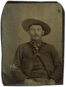 Western Cowboy Handsome Tough Guy 1/6 Plate Tintype Antique Photo