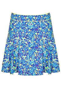 BNWT-Topshop-Blue-Floral-Skater-Short-Skirt-Size-14-RRP-38