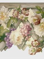 Tuscan Floral Wood Lattice Grapes Die Cut Scalloped Pretty Wallpaper Wall Border