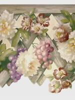 Tuscan Floral Wood Lattice Grapes Die Cut Scalloped Pretty Wallpaper Wall Border