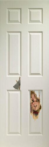 """HALLOWEEN HORROR SCARY CHUCKY DOLL AXES THROUGH THE DOOR LIFE SIZE IMAGE 24/""""X72"""