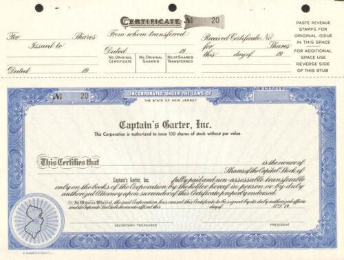 CAPTAIN/'S GARTER stock certificate BRUCE SPRINGSTEEN