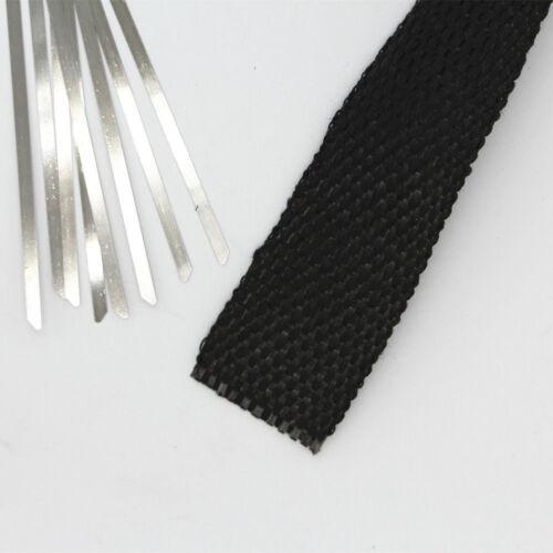 38mm x 5M Roll Fiberglass Exhaust Header Pipe Heat Wrap Tape Cloth Tie Kit Black