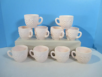 Shell Pink Milkglass Cups Jeannette Feather Pattern Punch Vintage Set of 10