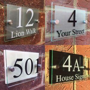 Personnalisé Moderne Maison Numéro rue Business Signes Plaques Verre Effet