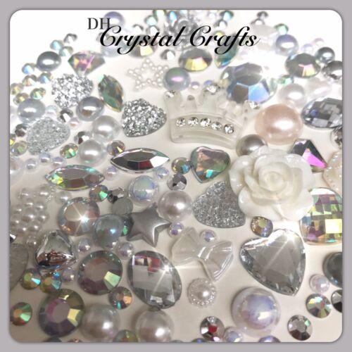 Crown Theme White Silver /& Aurora Borealis Cabochons Gems Pearls flatbacks #5