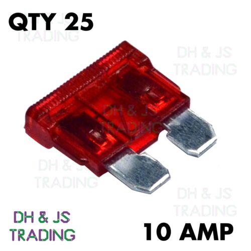 25x Standard Blade Fuses 10amp Car Auto Van Motorcycle Bike Electrical 10a Red