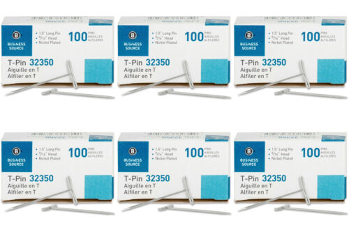 1-1//2-Inch 6 Packs Silver Business Source T-Pins 100//Box