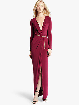 HALSTON HERITAGE Crossover Jersey Gown Boysenberry